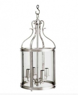 Casa Padrino Barock Hängeleuchte Silber Antik-Look, 4 Flammige Barock Laterne, Höhe 52 cm, Durchmesser 26 cm - Barock Schloss Lampe