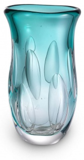 Casa Padrino Luxus Deko Glasvase Türkis 20 x 13 x H. 30 cm - Elegante Blumenvase aus mundgeblasenem Glas - Deko Accessoires