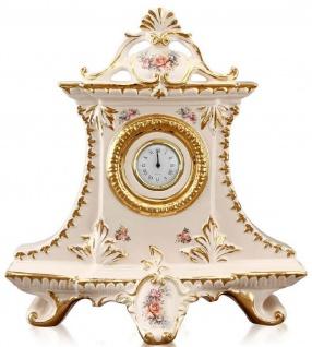 Casa Padrino Jugendstil Tischuhr Cremefarben / Gold / Mehrfarbig 43 x 16 x H. 45 cm - Barock & Jugendstil Deko Accessoires