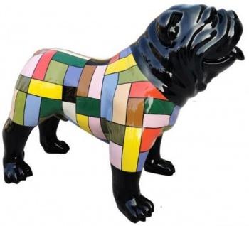 Casa Padrino Designer Dekofigur Hund Bulldogge Schwarz / Mehrfarbig 90 x H. 74 cm - Wetterbeständige Deko Skulptur - Wohnzimmer Deko - Garten Deko - Designer Deko Tierfigur