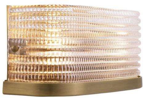 Casa Padrino Luxus Wandleuchte Antik Messingfarben 29, 5 x 11, 5 x H. 12, 5 cm - Wohnzimmerlampe mit Glas Lampenschirm