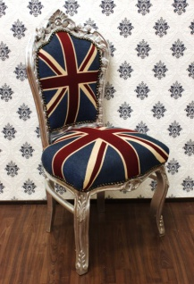 Casa Padrino Barock Esszimmer Stuhl Union Jack / Silber