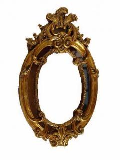 Casa Padrino Barock Wandspiegel Antik Gold / Braun - Grau Oval B 33, 5 x H 56 cm - Edel & Prunkvoll