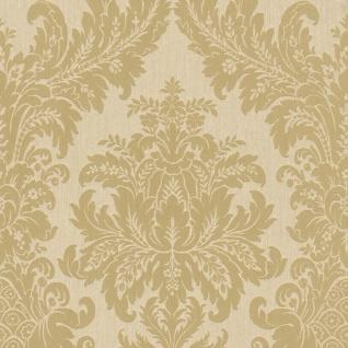 Casa Padrino Barock Textiltapete Creme / Gold 10, 05 x 0, 53 m - Luxus Wohnzimmer Tapete