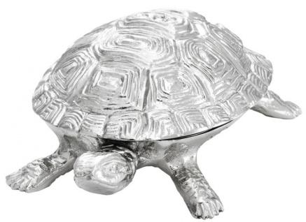 Casa Padrino Luxus Schatulle mit Deckel Schildkröte Messing vernickelt 19, 5 x 10, 5 x H. 6, 5 cm - Luxus Dekoration