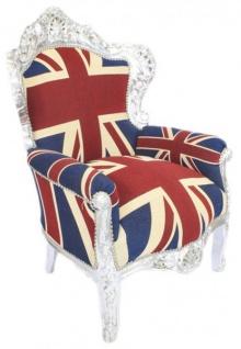 Casa Padrino Barock Sessel King Englische Flagge Union Jack / Silber - Barock England Sessel