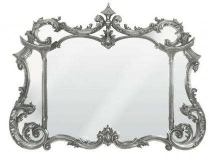 Casa Padrino Barock Wandspiegel Silber H 99 cm, B 128 cm - Edel & Prunkvoll - Spiegel Silberfarben