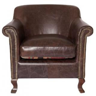 Casa Padrino Luxus Leder Sessel Dunkelbraun 88 x 81 x H. 79 cm - Echtleder Möbel