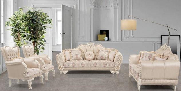 Casa Padrino Luxus Barock Wohnzimmer Set Beige / Creme / Rosa - 2 Sofas & 2 Sessel - Wohnzimmer Möbel im Barockstil - Edel & Prunkvoll