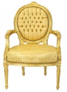 Casa Padrino Luxus Barock Medaillon Salon Stuhl Gold Muster / Gold - Möbel Antik Stil