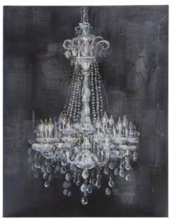 Casa Padrino Barock Ölgemälde Kronleuchter Grau / Weiß 100 x H. 150 cm - Prachtvolles Ölbild