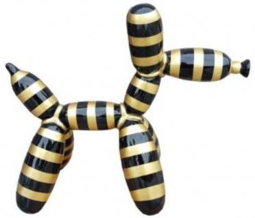 Casa Padrino Designer Deko Skulptur Ballon Hund Schwarz / Gold Gestreift 62 x H. 57 cm - Dekorative Tierfigur - Wetterbeständige Dekofigur