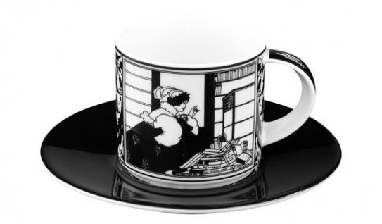 """Handgearbeitete Moccatasse aus Porzellan mit einem Motiv von Audrey Beardsley """" Morgenlektuere"""" 0, 09 Ltr. - feinste Qualität aus der Tettau Porzellanfabrik - wunderschöne Espressotasse"""