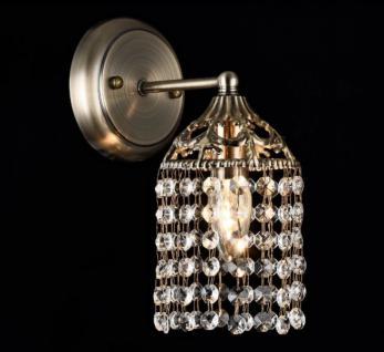 Casa Padrino Jugendstil Kristall Wandleuchte Bronze 12 x H 26 cm Jugendlicher Stil - Wandlampe Wand Beleuchtung