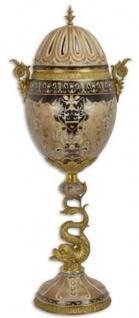 Casa Padrino Porzellan Deko Vase mit Deckel Beige / Schwarz / Messingfarben 33, 5 x 25 x H. 84, 3 cm - Deko Accessoires im orientalischen Stil