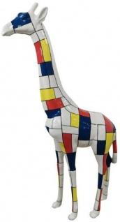 Casa Padrino Designer Deko Giraffe Weiß / Mehrfarbig H. 205 cm - Riesige Dekofigur - Gartendeko Skulptur - Gartenfigur
