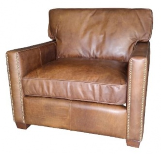 Casa Padrino Luxus Leder Sessel Vintage Hellbraun 100 x 100 x H. 89 cm - Echtleder Möbel