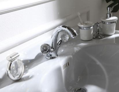 Luxus Waschtischarmatur mit Swarovski Kristallglas Silber 13, 5 x H. 16, 5 cm - Luxus Bad Zubehör Made in Italy - Vorschau 3