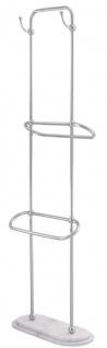 Casa Padrino Luxus Handtuchhalter Silber / Weiß 50 x 22 x H. 159 cm - Luxus Badezimmer Accessoires