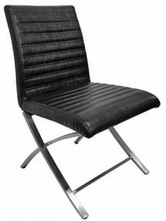 Casa Padrino Stuhl Schwarz / Silber 50 x 46 x H. 84 cm - Moderner gepolsteter Leder Stuhl mit verchromten Edelstahl Beinen - Bürostuhl - Leder Möbel