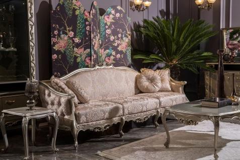 Casa Padrino Luxus Barock Wohnzimmer Sofa Rosa / Silber 245 x 83 x H. 104 cm - Massivholz Sofa mit elegantem Muster und dekorativen Kissen - Wohnzimmer Möbel im Barockstil - Vorschau 2