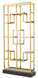 Casa Padrino Luxus Wohnzimmer Regalschrank Gold / Schwarz 108 x 29 x H. 240 cm - Luxus Möbel