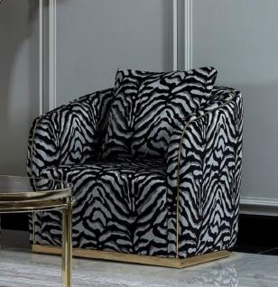 Casa Padrino Luxus Sessel Grau / Schwarz / Gold - Eleganter Wohnzimmer Sessel mit Muster und dekorativem Kissen - Luxus Wohnzimmer Möbel