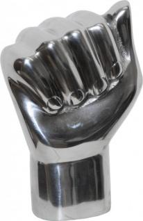 Casa Padrino Designer Aluminium Figur Faust Silber - Alu Dekoration massive Skulptur Power Fist Hand