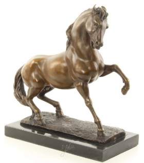 Casa Padrino Bronzefigur Pferd Hengst Bronze / Gold / Schwarz 32, 1 x 15, 7 x H. 34, 1 cm - Luxus Dekofigur