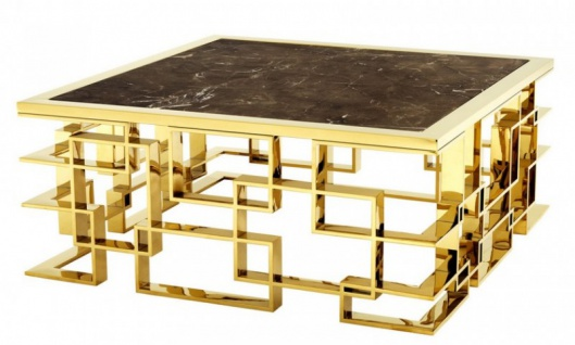 Casa Padrino Art Deco Luxus Couchtisch Edelstahl / Gold Finish mit Marmorplatte 100 x 100 x H. 45 cm - Wohnzimmer Salon Tisch - Hotel Möbel