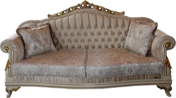 Casa Padrino Luxus Barock 3er Sofa Beige / Creme/ Elfenbein / Gold - Sitzbank Möbel - Luxury Hotel Collection