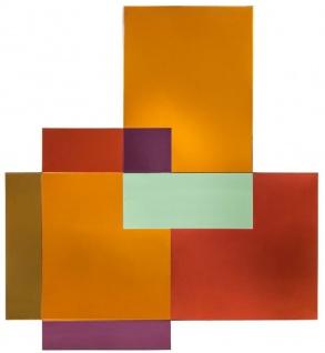 Casa Padrino Designer Spiegel Mehrfarbig 85 x H. 94 cm - Garderobenspiegel - Wohnzimmer Spiegel - Handgefertigt - Luxus Qualität - Designer Möbel