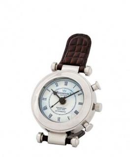Casa Padrino Designer Luxus Uhr Nickel finish mit braunem Leder 10 x H. 18 cm - Luxus Qualität - Vorschau 3