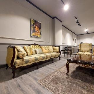 Casa Padrino Luxus Barock Ohrensessel Gold / Mehrfarbig / Schwarz - Prunkvoller Wohnzimmer Sessel mit elegantem Muster - Barock Möbel - Vorschau 5