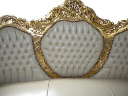 Casa Padrino Barock Sofa Garnitur Creme Lederoptik / Gold - Vorschau 3