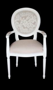 Casa Padrino Barock Esszimmer Stuhl mit Armlehne Creme / Weiß - Designer Stuhl - Luxus Qualität