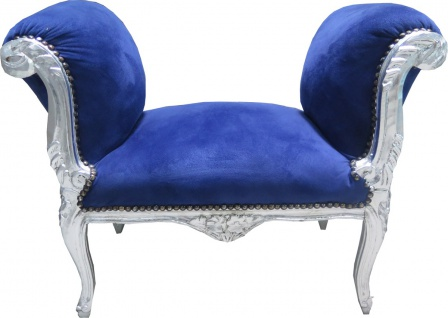 Casa Padrino Barock Schemel Hocker Royal Blau / Silber - Sitzbank - Möbel Antik Stil