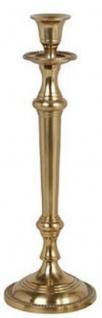 Casa Padrino Jugendstil Kerzenständer Antik Messingfarben H. 35 cm - Runder Aluminium Kerzenhalter - Barock & Jugendstil Deko Accessoires