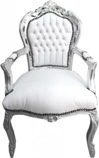 Casa Padrino Barock Esszimmer Stuhl mit Armlehnen Weiß / Silber Lederoptik - Möbel Antik Stil