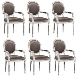Casa Padrino Luxus Barock Esszimmer Set Weiß / Gold / Grau 59 x 43, 5 x H. 98 cm - 6 Esszimmerstühle mit Armlehnen - Esszimmermöbel