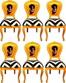 Casa Padrino Luxus Barock Esszimmer Set Schwarz / Weiß Streifen / Gelb 55 x 54 x H. 103 cm - 6 handgefertigte Designer Esszimmerstühle - Barock Esszimmermöbel