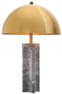Casa Padrino Luxus Tischleuchte Grau / Antik Messingfarben Ø 50 x H. 76 cm - Moderne Marmor Schreibtischleuchte mit rundem Metall Lampenschirm - Luxus Leuchten