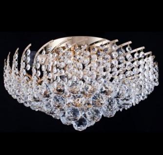 Casa Padrino Barock Kristall Decken Kronleuchter Gold 41 x H 24 cm Antik Stil - Möbel Lüster Leuchter Deckenleuchte Deckenlampe