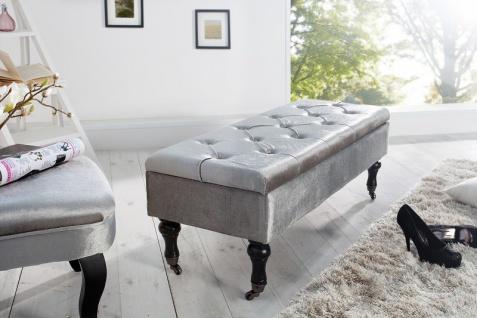 Casa Padrino Barock Sitzbank mit Truhe Silber / Schwarz - Antik Stil