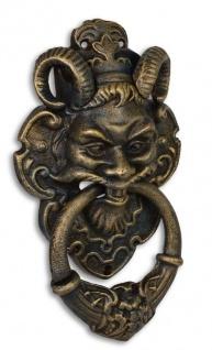 Casa Padrino Türklopfer Barock Devil Face Gusseisen Messingfarben 32.7 cm - Antik Jugendstil Gründerzeit