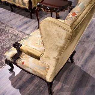 Casa Padrino Luxus Barock Ohrensessel Gold / Mehrfarbig / Schwarz - Prunkvoller Wohnzimmer Sessel mit elegantem Muster - Barock Möbel - Vorschau 4