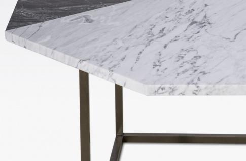 Casa Padrino Luxus Couchtisch Schwarz / Weiß 90 x 90 x H. 42 cm - Moderner 8-eckiger Wohnzimmertisch mit Carrara Marmorplatte - Wohnzimmer Möbel - Vorschau 2
