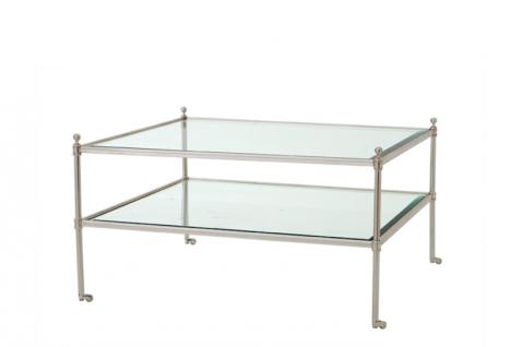 Casa Padrino Luxus Art Deco Designer Couchtisch Silber - Wohnzimmer Salon Tisch - Luxus Qualität