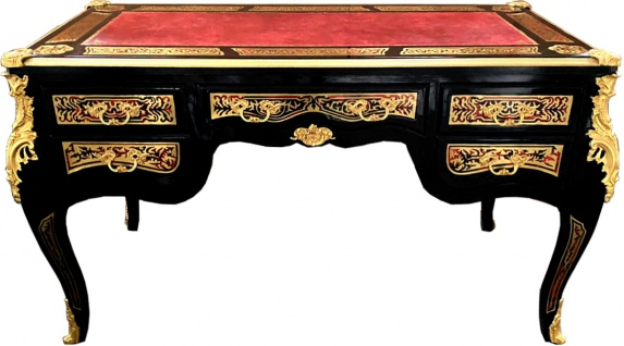 Casa Padrino Barock Boulle Sekretär im französischen Stil Schwarz / Gold 140 cm - Handgefertigter Antik Stil Schreibtisch - Barock Büro Möbel - Vorschau 3