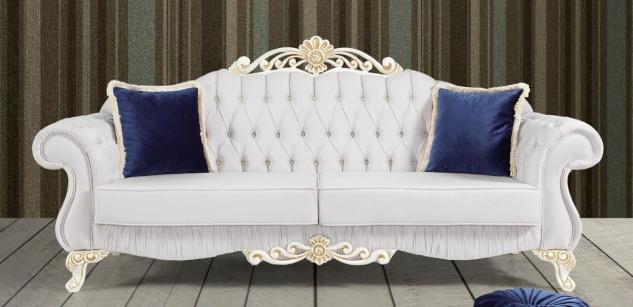 Casa Padrino Barock Sofa Hellgrau / Weiß / Gold 235 x 85 x H. 112 cm - Edles Wohnzimmer Sofa mit Glitzersteinen - Barock Möbel